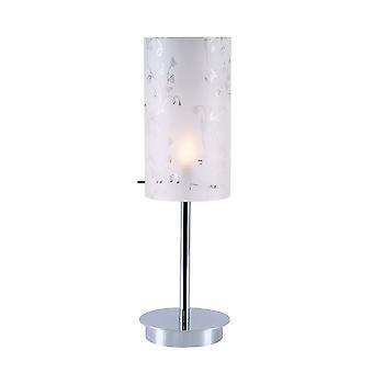 Italux Rico - Moderne Tischleuchte Chrom 1 Licht mit Stoffschirm, E27