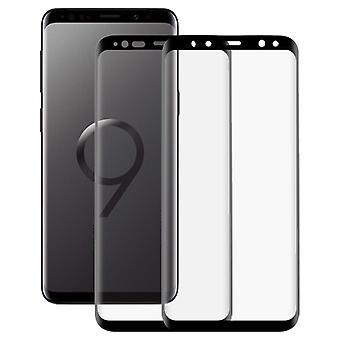 Galaxy S9 2 PCS 3D Kaareva Silkki-näyttö PET Frosted Full Coverage Suojakalvo (musta)