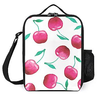 Watercolor Cherry Pattern Printed Lunch Bags