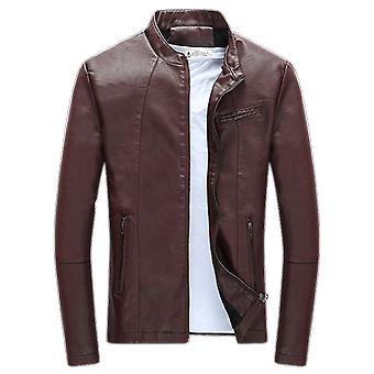 Autumn, Winter Men's Casual Zipper Pu Leather Jacket, Motorcycle Leather