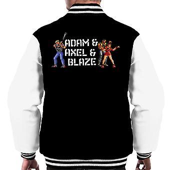 Sega Streets Of Rage Adam Axel And Blaze Pixelated Men's Varsity Jacket