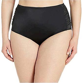 Coastal Blue Women's Plus Size Control Swimwear Bikini Bottom, Black, 3X (24W-26W)