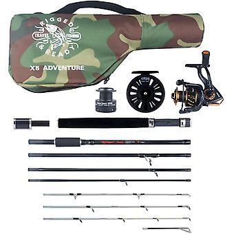"X5 Combination Travel Fishing Rod 2 Reels & Case. 5 Rods in ONE. 220cm 7' 2"" + 190cm 6' 3"" Spin"