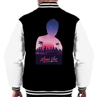 Miami Vice Sunset City Silhouette Men's Varsity Jacket