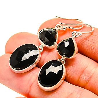 "Black Onyx Earrings 1 3/4"" (925 Sterling Silver)  - Handmade Boho Vintage Jewelry EARR411102"