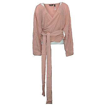 Du Jour Women's Top Plus Long-Sleeve Wrap Front Knit Pink A343621