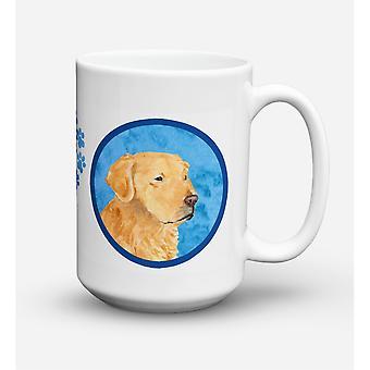 Caroline's Treasures SS4752-BU-CM15 Golden Retriever Microwavable Ceramic Coffee Mug, 15 oz, Multicolor