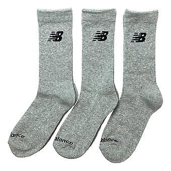 New Balance Performance Cotton Cushioned 3 Pack Crew Socks - Grey