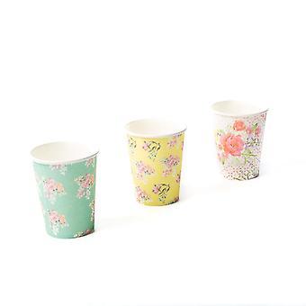 Vintage bloemen Paper Cups middag thee Set van 12