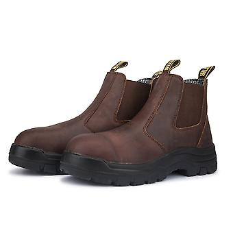 Brown 6 Inch Pull-on Leather Work Boots Ak224