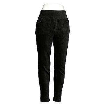 Denim & Co. Leggings de mujer's regular cordón de punto de cintura lisa negro A388785
