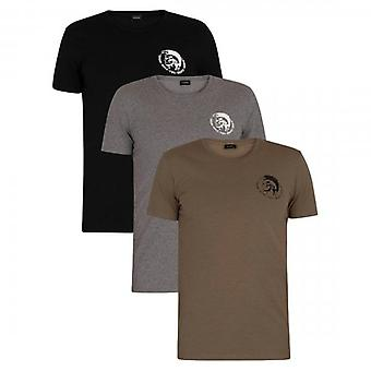 Diesel Randal 0TANL 3 Pack Plain Khaki/Black/Grey Crew Neck Stretch T-Shirts