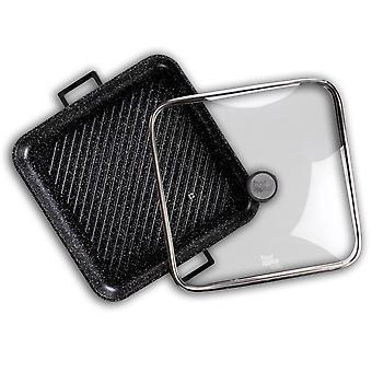 mat överklagande Svart Marmor grillpanna med glaslock 34cm | anti-stick beläggning | svart marmor design | för gasspis, induktionsspis, keramikspis