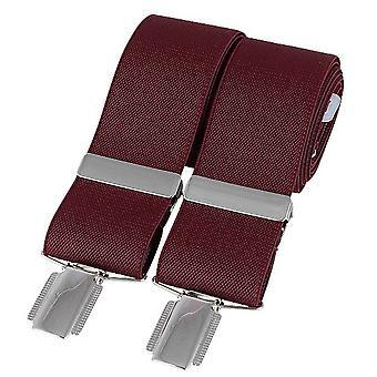 David Van Hagen Plain 35mm Clip Braces - Bourgogne/Argent