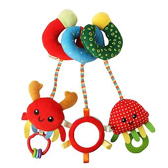 Strawberry Stroller Hanging Toy Cartoon Activity Spiral With Teether Bb Device Mirror Bell Pram Crib Toy For Infant