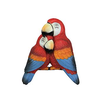 Polly and Petey Mother and Child Parrots Shelf Sitter Statue Hand Painted