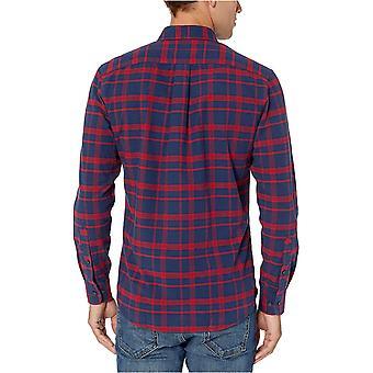 Essentials Men's Slim-Fit Plaid Long-Sleeve Pocket Oxford Shirt, Navy Windowpane, Small