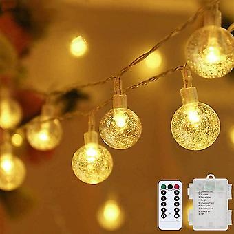 FengChun Lichterkette LED Lichterkette Warmwei 5m 50LED Kristall Kugeln Lichterkette Batterie mit