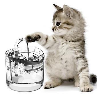 1.6L Pet Water Fountain Cat Water Dispenser With Double Filter Transparent Water Tank Automatic Cat Drinking Fountains Adjustable Water Flow Setting USB Plug with auto switch sensor