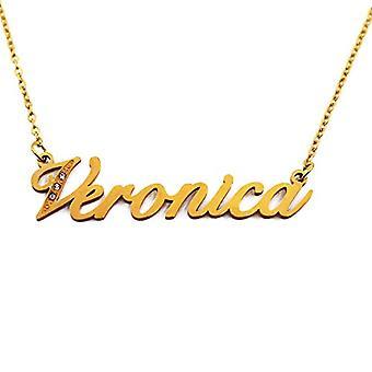 Kigu Veronica - Anpassningsbart namn halsband med guldpläterade zirkoner