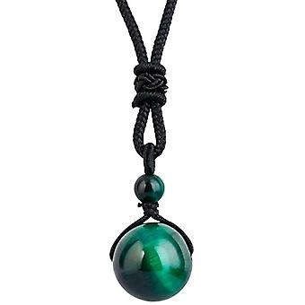 KYEYGWO - Necklace with pendant in the shape of a natural stone ball, adjustable, for men and women, color: Tiger eye stone Ref. 0715444083334