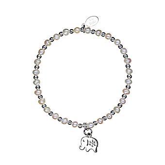 Lucky Elephant Stacking Bracelet - 16cm + 2cm extender - Perle - Bijoux Cadeaux pour femmes de Lu Bella