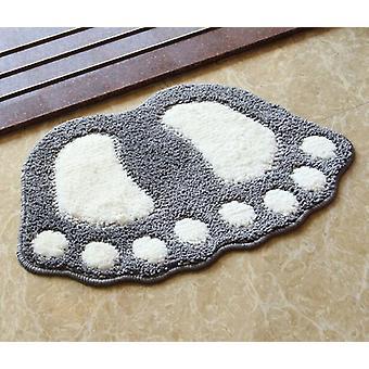 40 * 60cm Hot Selling Footprint Boden Teppich für Badezimmer Matte, Anti-Rutsch-Matten Badezimmer Matte (grau)