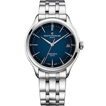 Baume & Mercier M0a10468 Clifton Baumatic Blue & Silver Stainless Steel Mens Watch