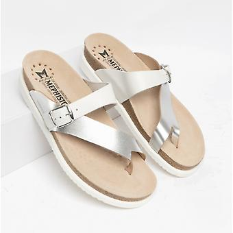 Mephisto Helen Mix Ladies Leather Mule Sandals Silver/white