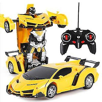 Yellow remote control deformation robot police car remote control toy children charging toy az6761