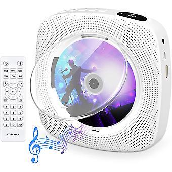 Lecteur CD portable avec lecteur CD mural Bluetooth Haut-parleurs HiFi intégrés avec écran audio LCD, blanc