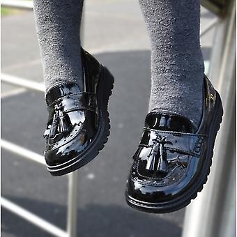 Hush Puppies Karen Jnr Girls Leather Slip On Shoes Patent Black