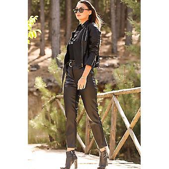 Kalam naisten musta nahka näyttää housut