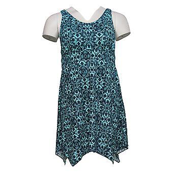 Denim & Co. Badpak Strand Zakdoek Hem Scoop Neck Dress Blauw A392819
