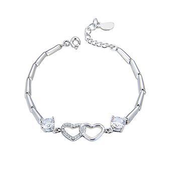 Placare cu argint Elegant Double Heart Bracelet Natural White Women Fashion Bracelets