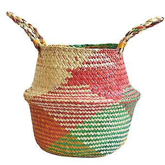 (22*20cm) Foldable Seagrass Belly Basket Flowers Plants Storage Pot Home Wickerwork Hamper