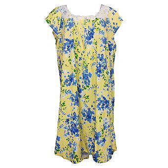 Aria Women's Jersey Cap Sleeve Sleep Gown Floral Yellow 637166