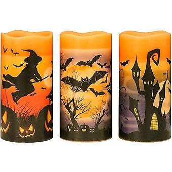 Halloween Flameless Flickering Led Candles With 6-hour Timer, Battery Operated Wax Candles Assorted Decals Witch, Bats, Castle Set Of 3 For Decoration