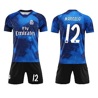 Marcelo #12 Jersey Real Madrid CF Fly Emirates Fotboll T-Shirts Jersey Set för barnungdomar