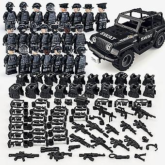 軍事ビルディングブロックシリーズブラック特別警察とオフロード車両セット小さな粒子組み立てミニフィギュアおもちゃ