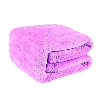 nydelig flanell fleece kjæledyr teppe koselig håndkle solid farge kjæledyr teppe (lys lilla)