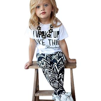 Copii Fete cu maneca scurta T-shirt Pantaloni Set de vară Casual Outfit Haine