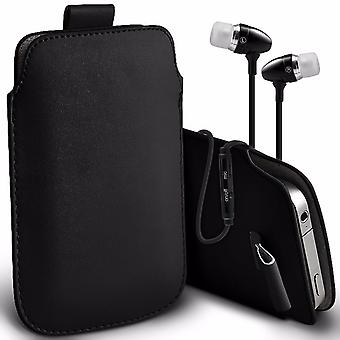i-Tronixs Premium Stylish Faux Leather Pull Tab Pouch Skin Case Cover with Aluminium Stereo Hands Free Earphone For Symphony V110 (5