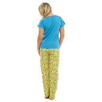 Ladies Tom Franks Floral Print Jersey T Shirt Top & Long Pyjama Set Sleepwear 8-10 Blue Top