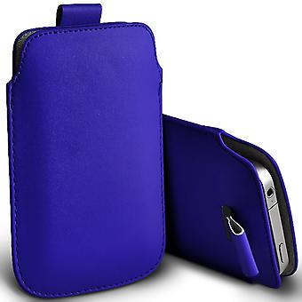 Huawei Enjoy 5s Slip In Pull Tab Faux Leather Pouch Case Cover (Blue)