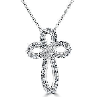 5 / 8ct Diamant Kreuz 14K Weißgold mit 1