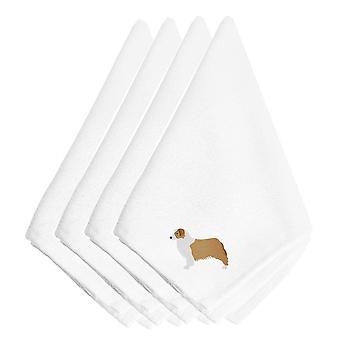 Australian Shepherd Dog, bestickte Servietten 4er Set