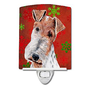 Wire Fox Terrier Red Snowflakes Holiday Ceramic Night Light