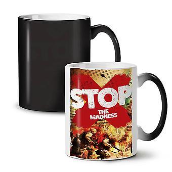 War Madness Peace NEW Black Colour Changing Tea Coffee Ceramic Mug 11 oz | Wellcoda