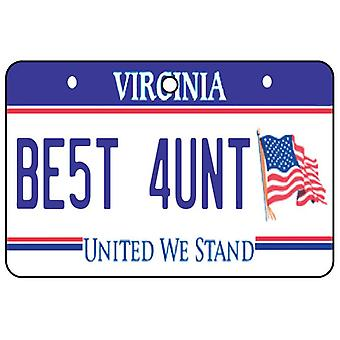 Virginia - Best Aunt License Plate Car Air Freshener